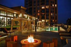This is the pool deck at the Carlyle Condominiums