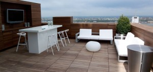 This is a rooftop terrace at a condominium in Minneapolis